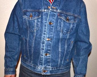 Vintage   80s Levi's Denim Jacket Red Tab 4 Pocket Made in USA copper buttons  jacket   Size 46