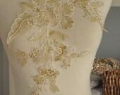 Alencon gold lace applique, floral embroidery lace applique in gold, delicate lace applique pair