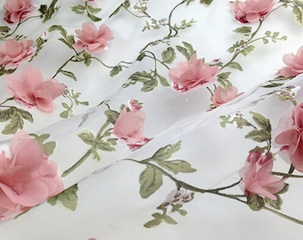 3D bridal lace fabric, pink rosette fabric lace , bridal gown fabric, wedding fabric by yard