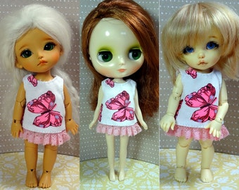 Pink butterfly dress for Lati Yellow/ Middie Blythe/ Pukifee doll