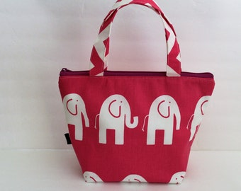 Kids Insulated Lunch Bag, Zipper Top, Water Resistant Food Safe Lining, Girls Lunch Bag, Small Diaper Bag, Hot Pink Elephant, Ready To Ship
