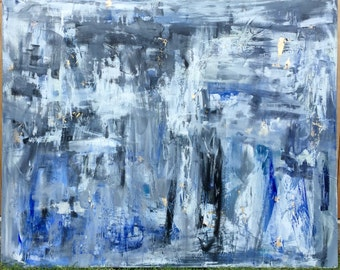 Large blue and white abstract painting, original abstract art, gold and blue abstract, large abstract wall decor by Laney Espenlaub