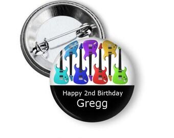 Guitar pinback button badge or fridge magnet