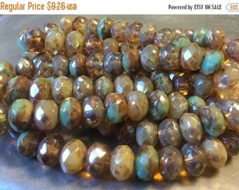 ON SALE Czech Rondelle Bead 6mm x 8mm Champagne Opal and Green Turquoise Picasso Mix 1 Strand