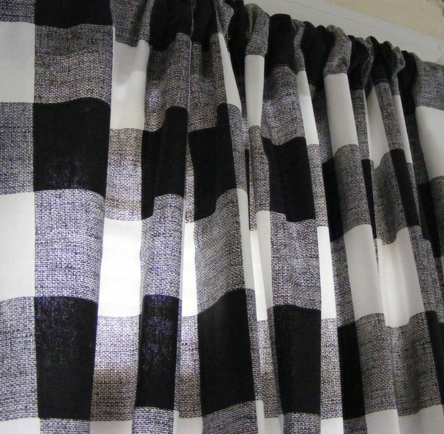 Black White Buffalo Check Curtains / Panels by ThePincushionStore
