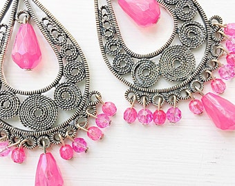 Boho Pink Chandelier Earrings Statement Think Pink Breast Cancer Awareness Month October