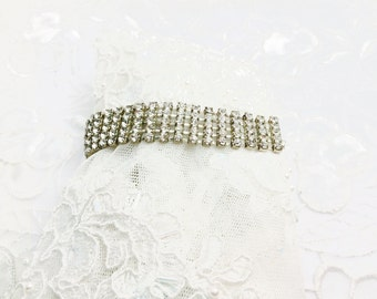 Rhinestones Bracelet, Vintage Wedding, Clear, Silver Tone, Item No. B535
