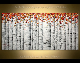 Oil Painting on canvas birch tree forest grey white colors wall decor design gift living room accent piece by Paula