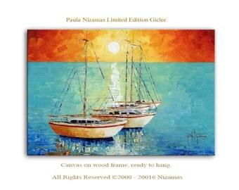Boats - Limited Edition - Abstract Seascape art on canvas Home Decor Paula Nizamas sea boats sky