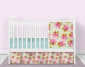 FREE SHIPPING***Shabby Chic Crib Bedding, Pink, Ivory, floral,CUSTOM, Crib Blanket, Crib Skirt, and Fitted Sheet