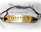 Greek name Greek word  personalized bracelet Handstamped adjustable brass bracelet