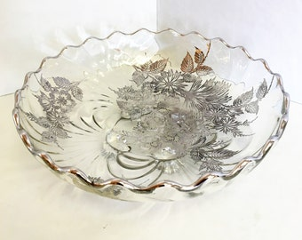 Silver Rimmed Glass Bowl w/ Silver Floral Detail