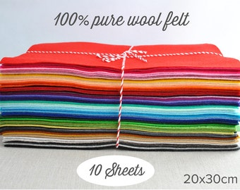 "Pure wool felt sheets -  20x30cm (8x12"") - choose 10 colours  - 100% wool felt - Waldorf supplies"