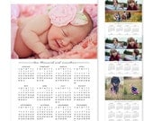 2017 and 2018 Calendars, Family Photo Calendar, Photoshop Template, Wall Calendar, Photography Calendar, C152, INSTANT DOWNLOAD