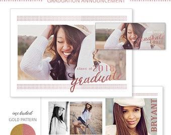 Photography Templates, Senior Graduation Announcement, Rose Gold Foil, Photoshop Templates for Photographers, 5x7 PSD Flat card, SG800