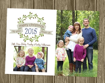 Photo Christmas Card - To you From US - Wreath