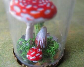Miniature Toadstool Terrarium Necklace