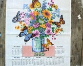 Soft Calendar Butterfly and flower tea towel, 1985, kitchen towel, Made in Canada