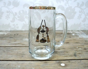 Vintage Curling Beer Stein, Clear Glass, 1970's, coffee cup, perfect, ready to gift, rock and brooms