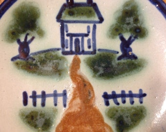 """M A Hadley Art Pottery 6"""" Plate, House and Picket Fence, Excellent Condition"""