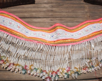 Hmong Textile Vintage Embroidered and Bead Strap
