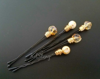 Beaded Hairpins Gift for Her Wedding Hair Accessories White Hairpins Beaded Hair Pins Bobby Pins