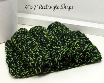 Black & Green Halloween Dishcloths, Cotton Dishcloths, Hand Crochet Dishcloths, Set of 4 American Cotton