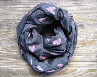 Heart Scarf, Valentine Scarf, Infinity Scarf, Circle Scarf, Eternity Scarf, Gift for Her, Teen Scarf, Women's Scarf, Ready to Ship