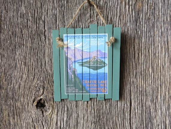 Rustic Cabin Wall Decor : Rustic cabin wall decor with mini vintage crater lake national