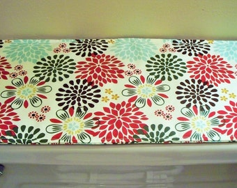 Toilet Tank Topper - Tablerunner - Floral Print - Rust and Browns - reversible