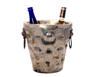 Silver Wine Chiller, 2 Bottle, Lion Head Detail