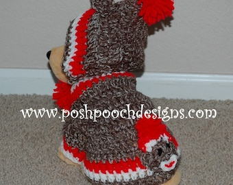 Sock Monkey Hoodie Small Dogs 2-15 lbs Custom Made