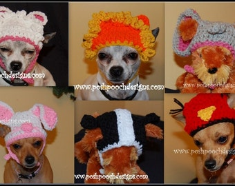6 dog beanie Hats In One Set 2 - Instant download Crochet Pattern