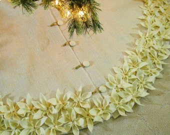 """54"""" Burlap tree skirt in Ivory color with gold threads and Ivory hand cut and sewn petal. *FREE SHIPPING*"""