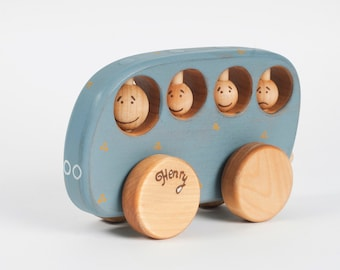 Personalized Wooden Toy Bus, Kids Toy, Blue Wooden School Bus