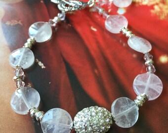 Rose Quartz with Swarovski Crystal Bracelet