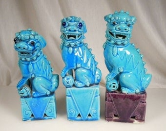 FOO DOGS vintage Shanghai China 1945- brought back by solider stationed in the pacific WW-2- turquoise blue glaze  all 3 sold as set