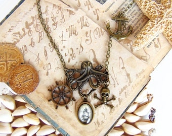 Leviathan in Bronze - Octopus Necklace - Pirate Statement Necklace - Pirate Jewelry