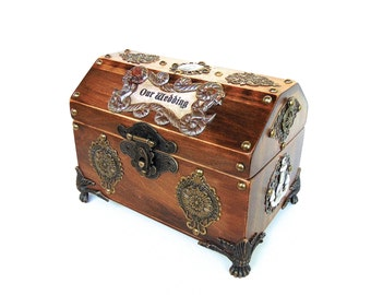 Wedding Cards Box - Pirate Treasure Chest - Nautical Wedding Keepsake Box