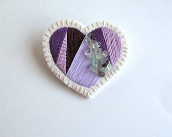Mother's day heart brooch hand embroidered purples with fluorite crystals on cream muslin with cream felt back gifts for her