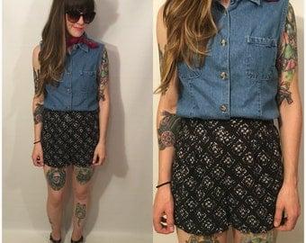 Vintage 90s Blue Jean Denim Button Up Blouse Sleeveless Size Medium