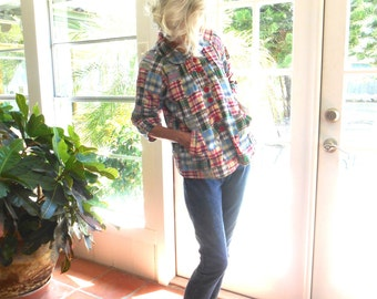 Vintage New Directions jacket madras plaid patchwork 1980's preppy The Hamptons made in India: small, medium, large