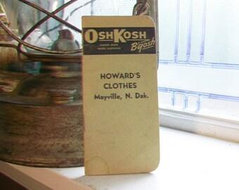 1947 Osh Kosh B'gosh Note Book Vintage Paper Ephemera