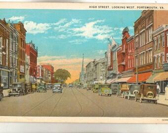 Linen Postcard, Portsmouth, Virginia, High Street Looking West, ca 1940
