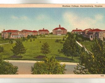 Linen Postcard, Harrisonburg, Virginia, Madison College Campus, ca 1940