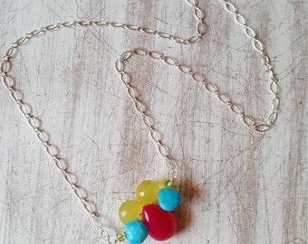 Kaleidoscope gemstone cluster necklace