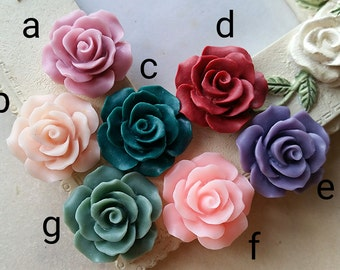 19 mm of Assorted Colour Rose Resin Flower Cabochons (.tu)(zzb)