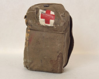 Vintage US Aeronautic First Aid Kit in Canvas Carry Pouch Complete with Supplies Military Militaria