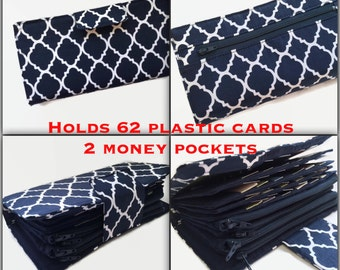 Womens Wallet, Blue Wallet Organizer, 62 Credit Card Holder, Coupon Holder, Dave Ramsey, Money System, Travel Wallet