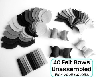 Felt Bows Unassembled. Set of 40 bows, Pick your colors. Felt supplies, felt die cut, felt shapes, bows,